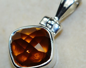 Genuine Faceted Honey Topaz set in Solid 925 Sterling Silver Pendant