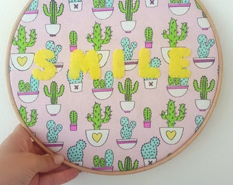 embroidery hoop ,cactus ,smile ,nursery decor , baby gift ,children room ,baby shower gift