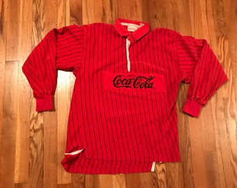 e890f1c13a 80s Coca Cola vintage color block rugby polo shirt tee red pin striped rare  colorway unique original coke pop hypebeast hipster