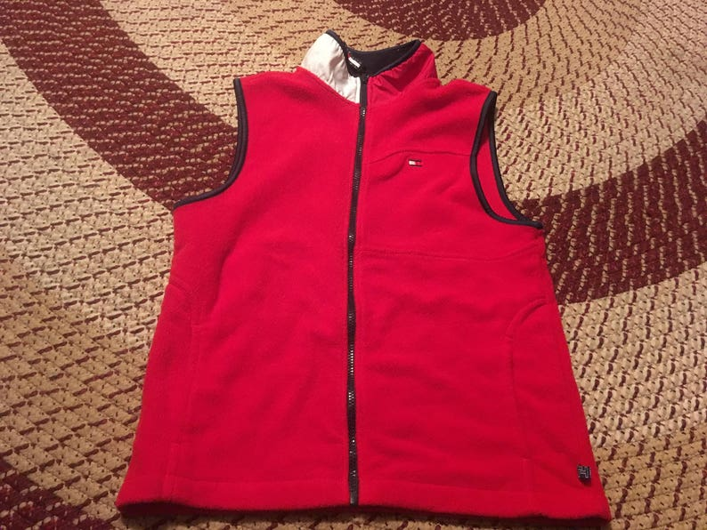 90s Tommy Hilfiger vintage fleece vest zip up jacket classic hipster hip  hop retro trendy hypebeast Aaliyah ski lotus racing jeans girl cool