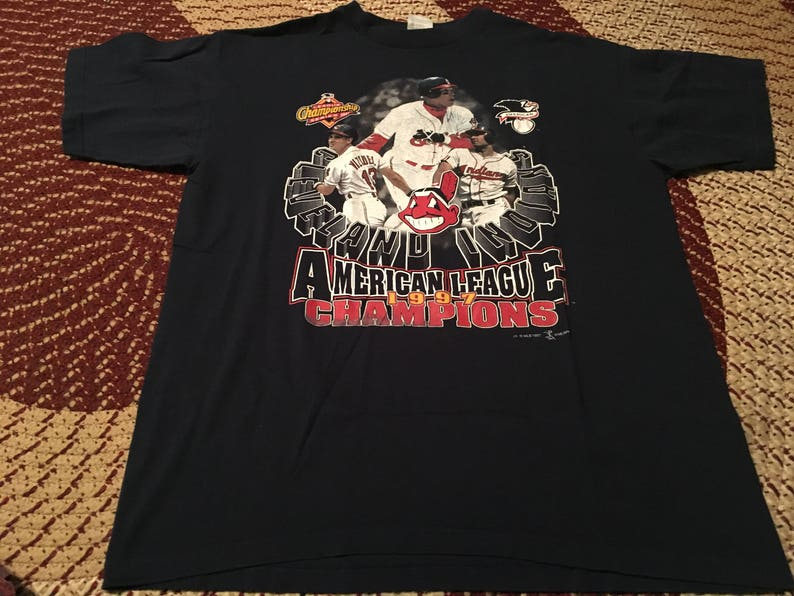 1997 Cleveland Indians vintage American League Champions t-shirt crazy old  school 90s MLB baseball team World Series 80s jersey htf cool