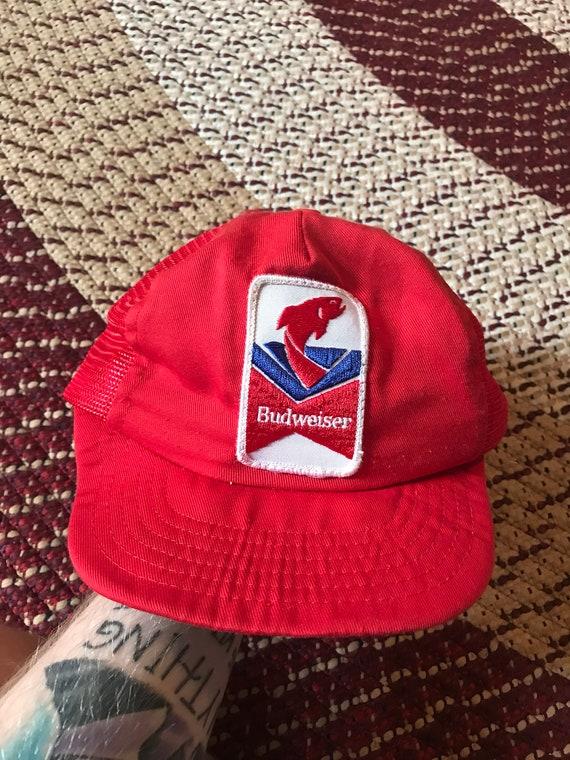 20fc69d62b8e9 80s Budweiser trucker hat baseball cap snapback vintage