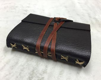 Leather Journal - A6 Soft Wrap Cover - Dark brown - 6 x 4.5