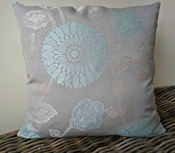 Luxury duck egg blue oatmeal pillow