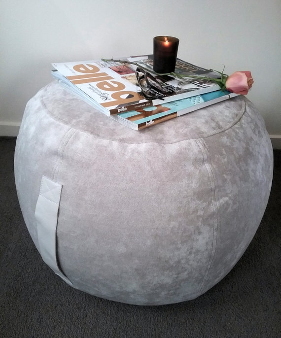 Outstanding Ottoman Pouf Natural Velvet Pouffe Round Pouf Beanbag Pouf Bean Bag Ottoman Neutral Decor Oatmeal Pouf Gmtry Best Dining Table And Chair Ideas Images Gmtryco