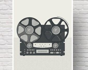 Art print, vintyge art print, retro wall art, wall art, music, audio recorder.