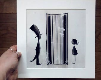 "Press illustration ""LOVERS"" Framed by Passepartout"