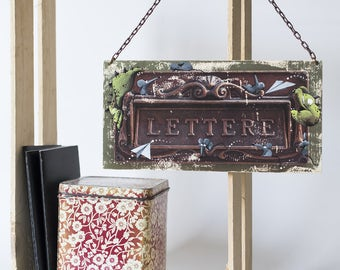 """Photography illustrated """"CASSETTE LETTERS"""" / wooden panel / hand-printed photograph / illustration hand-painted / wall decoration"""