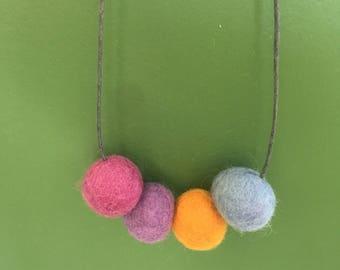 Felt ball necklace