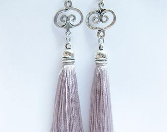 Puff earrings, earrings, long earrings, women, grey