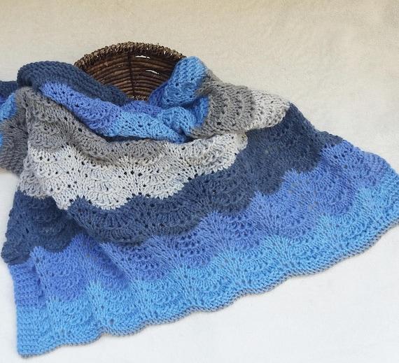 132 Pdf Waves Baby Blanket Knitting Pattern Easy Baby Etsy