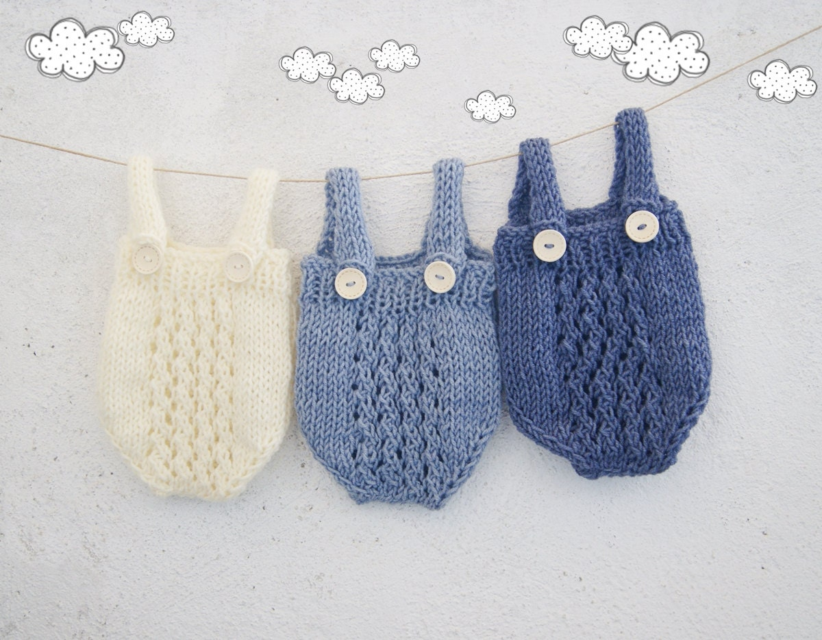 bedbd860f48 Newborn Boy Photo Prop   Knit baby overall   Baby Knitted Onesie   Hand  knit Romper   Newborn photo outfit