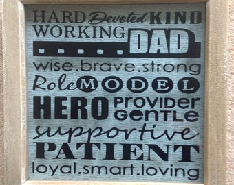 Hard working dad box frame father's Day