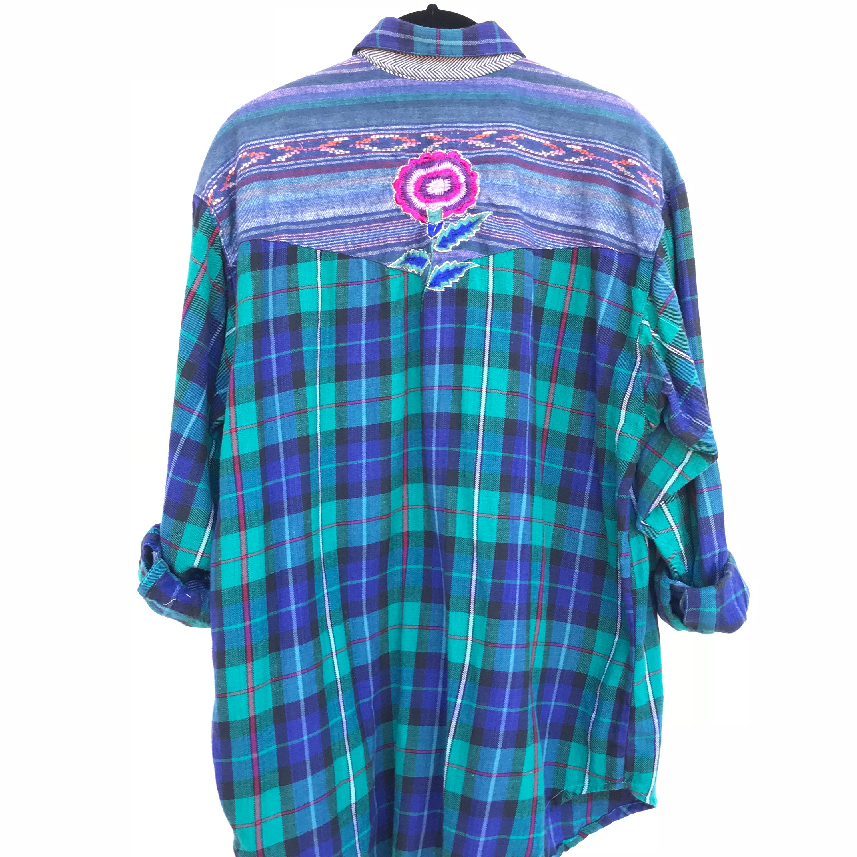 f3478d34 Vintage Flannel Shirt with Floral Embroidery, Plaid Button Down ...