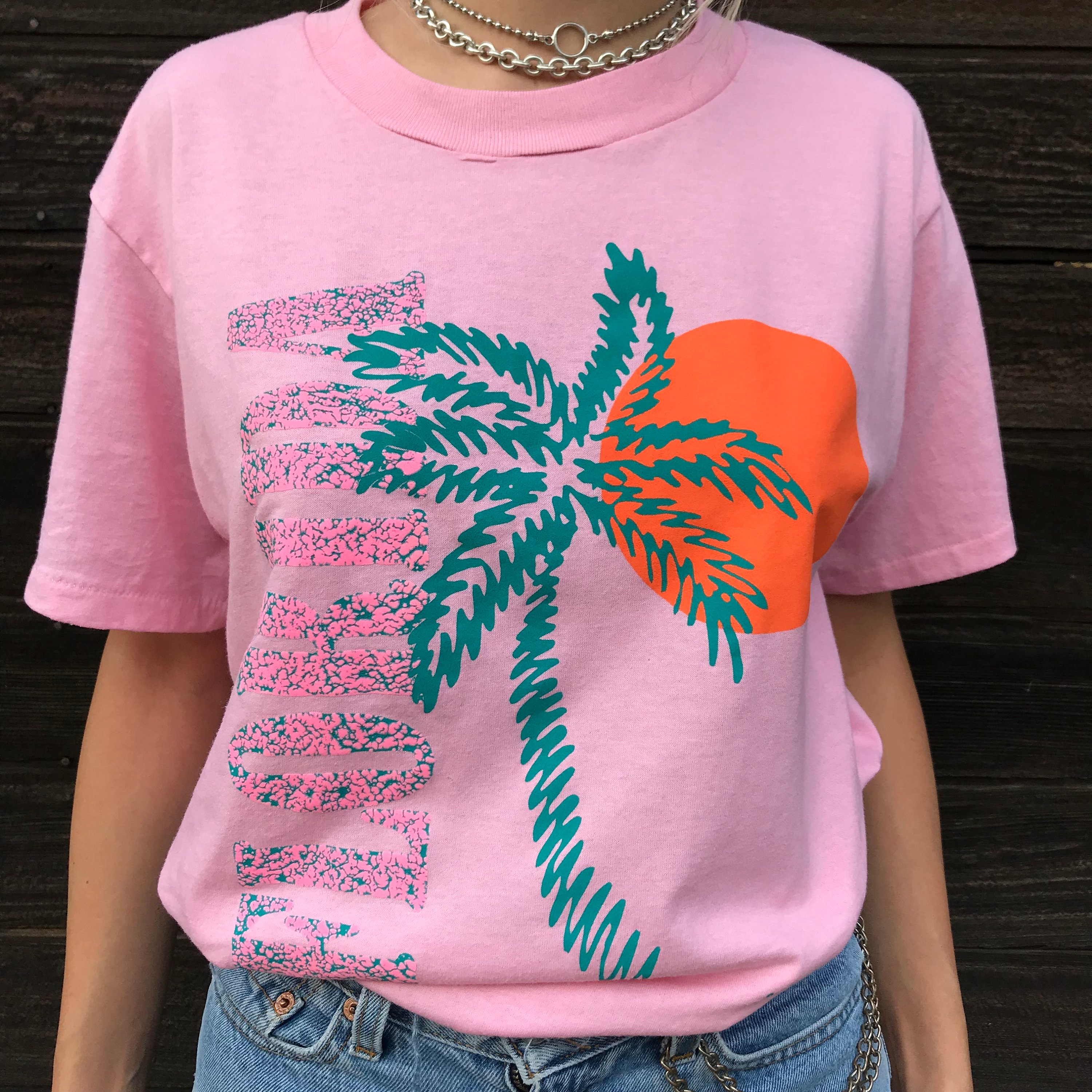 c17a98c42 Shoppable tips Source · FLORIDA T Shirt pink 90s vintage puff paint graphic  tee worn in