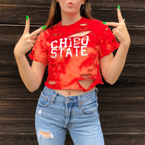 6106a8f3f7d CHICO STATE University Cropped T-Shirt crop top bleach