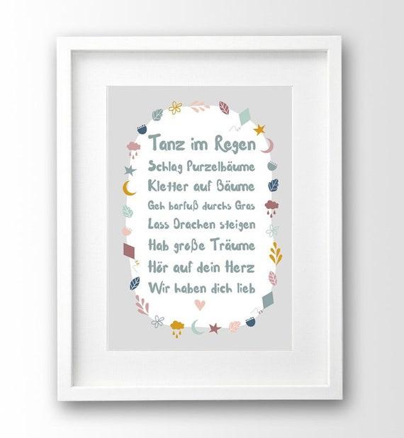 Spruch Kinderposter A4 Ungerahmt Geschenk Geburt Taufe Deko Kinderzimmer