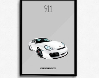 Porsche 911 Iconic Poster Print - White Carrera Supercar Poster - Art Print, Multiple Sizes - 8x10 up to 24x36 - Elegant Style Minimal
