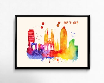 Barcelona Skyline Watercolor Poster - Cityscape Painting Artwork - Art Print, Multiple Sizes - 10x8 to 36x24 - Watercolor Painting Style