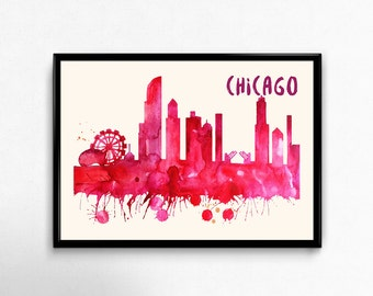 Chicago Skyline Watercolor Poster - Cityscape Painting Artwork - Art Print, Multiple Sizes - 10x8 to 36x24 - Watercolor Painting Style