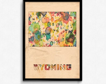 Wyoming Map Poster Watercolor Print - Fine Art Digital Painting, Multiple Sizes - 12x18 to 24x36 - Vintage Paper Colors Style
