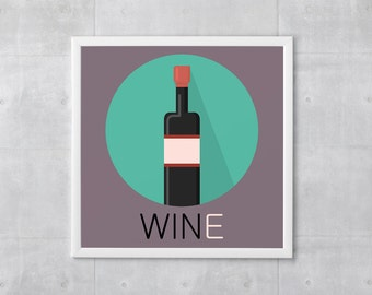 Wine Poster Print - Win And Wine - Art Print, Multiple Sizes - 10x10 to 18x18 - Retro Classic Style, Funny Wordplay