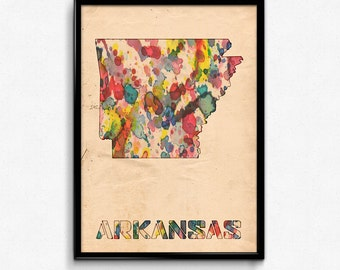 Arkansas Map Poster Watercolor Print - Fine Art Digital Painting, Multiple Sizes - 12x18 to 24x36 - Vintage Paper Colors Style