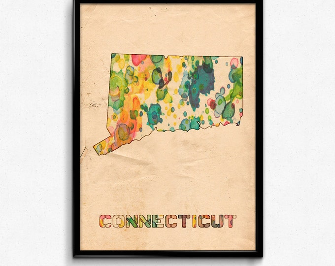 Connecticut Map Poster Watercolor Print - Fine Art Digital Painting, Multiple Sizes - 12x18 to 24x36 - Vintage Paper Colors Style