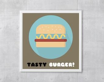 Tasty Burger Poster Print - Food Art - Art Print, More Sizes - 10x10 to 18x18 - Retro Classic Style, Funny Wordplay