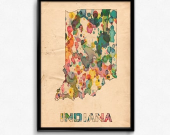 Indiana Map Poster Watercolor Print - Fine Art Digital Painting, Multiple Sizes - 12x18 to 24x36 - Vintage Paper Colors Style