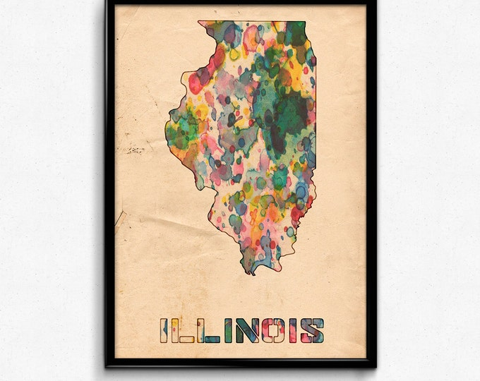 Illinois Map Poster Watercolor Print - Fine Art Digital Painting, Multiple Sizes - 12x18 to 24x36 - Vintage Paper Colors Style