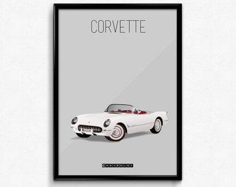 1953 Vintage Corvette Poster Print - White Convertible Muscle Car Poster - Art Print, Multiple Sizes - 8x10 to 24x36 - Elegant Style Minimal
