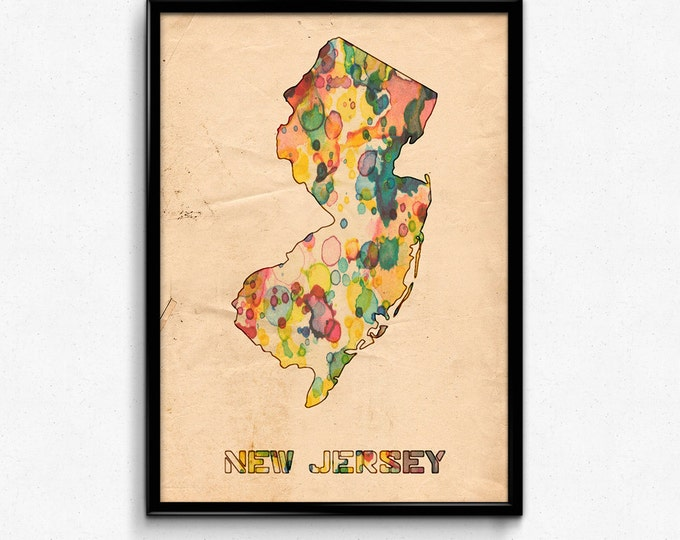 New Jersey Map Poster Watercolor Print - Fine Art Digital Painting, Multiple Sizes - 12x18 to 24x36 - Vintage Paper Colors Style