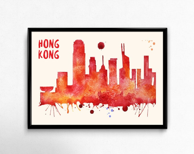 Hong Kong Skyline Watercolor Poster - Cityscape Painting Artwork - Art Print, Multiple Sizes - 10x8 to 36x24 - Watercolor Painting Style