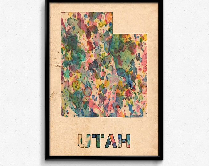 Utah Map Poster Watercolor Print - Fine Art Digital Painting, Multiple Sizes - 12x18 to 24x36 - Vintage Paper Colors Style