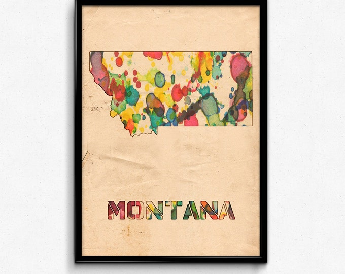 Montana Map Poster Watercolor Print - Fine Art Digital Painting, Multiple Sizes - 12x18 to 24x36 - Vintage Paper Colors Style