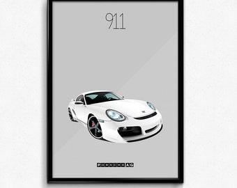 Porsche 911 Iconic Poster Print - White Carrera Supercar Poster - Art Print, Multiple Sizes - 8x10 up to 24x36 - Elegant Style Minimal