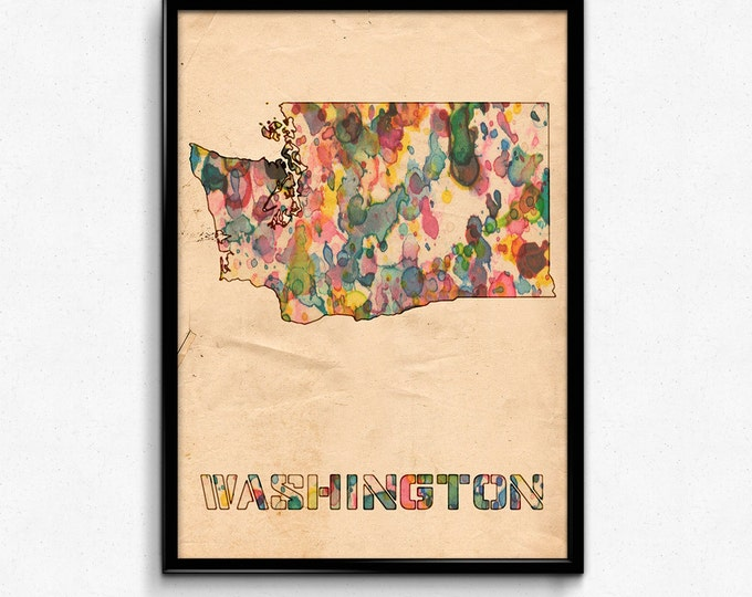 Washington Map Poster Watercolor Print - Fine Art Digital Painting, Multiple Sizes - 12x18 to 24x36 - Vintage Paper Colors Style