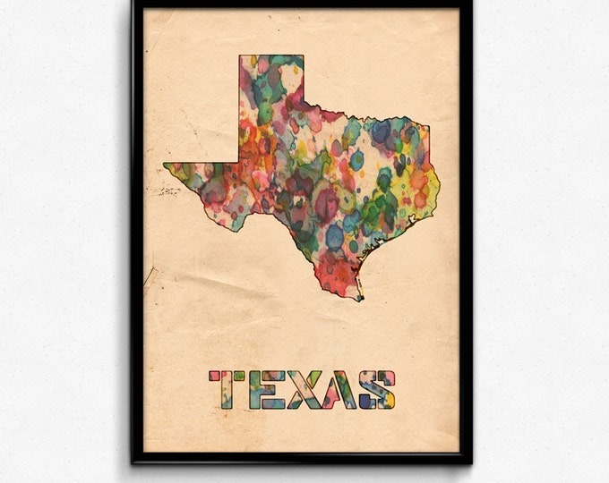 Texas Map Poster Watercolor Print - Fine Art Digital Painting, Multiple Sizes - 12x18 to 24x36 - Vintage Paper Colors Style