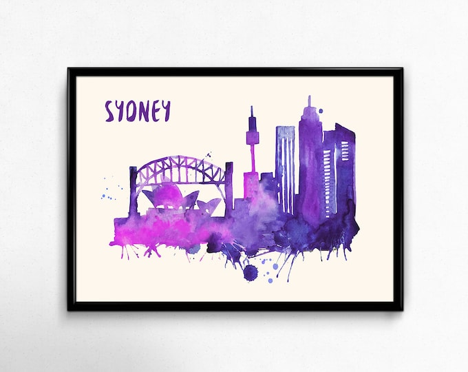 Sydney Skyline Watercolor Poster - Cityscape Painting Artwork - Art Print, Multiple Sizes - 10x8 to 36x24 - Watercolor Painting Style