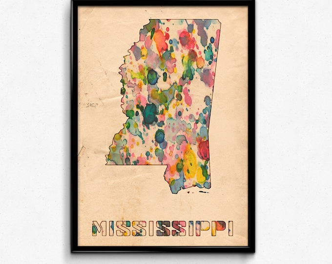 Mississippi Map Poster Watercolor Print - Fine Art Digital Painting, Multiple Sizes - 12x18 to 24x36 - Vintage Paper Colors Style