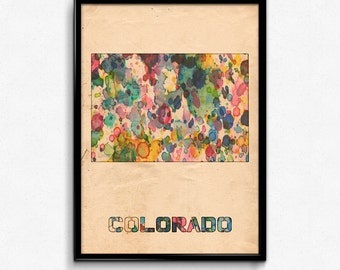 Colorado Map Poster Watercolor Print - Fine Art Digital Painting, Multiple Sizes - 12x18 to 24x36 - Vintage Paper Colors Style