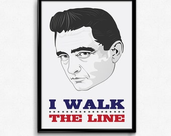 Johnny Cash Poster Print Quote - I Walk The Line - The Man In Black - Art Print Multiple Sizes - 8x10 to 24x36 - Minimal Music Poster Lyrics