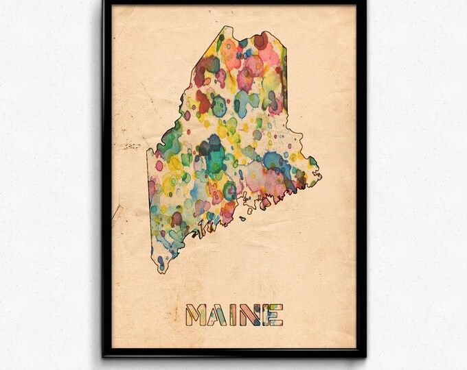 Maine Map Poster Watercolor Print - Fine Art Digital Painting, Multiple Sizes - 12x18 to 24x36 - Vintage Paper Colors Style
