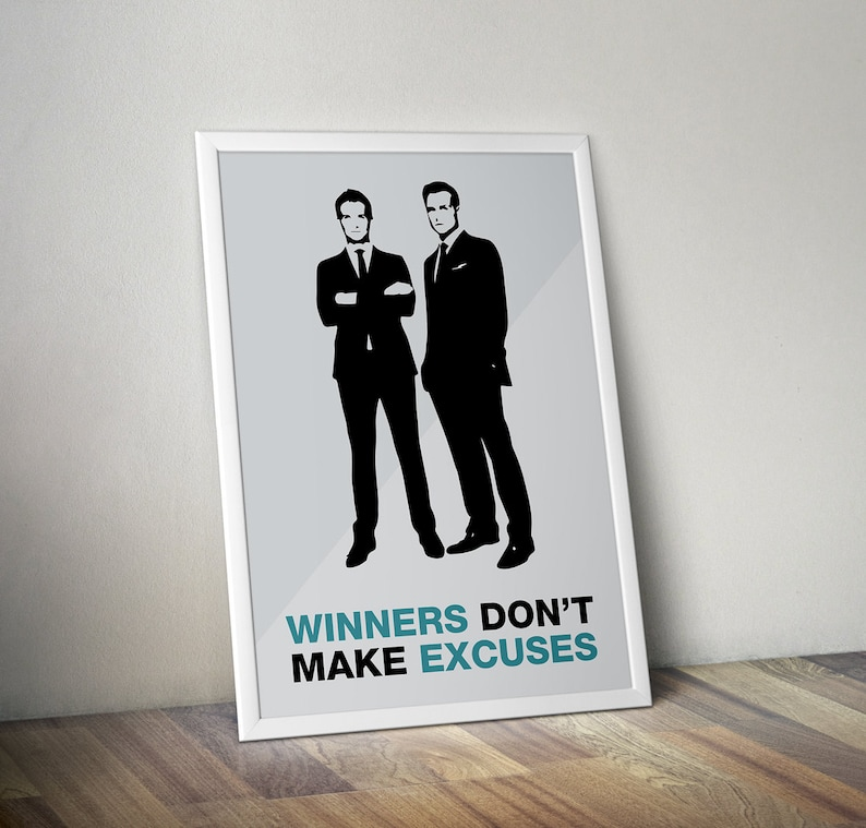 c63ad281f9b3 Suits TV Show Poster Harvey Quote Winners Don t Make