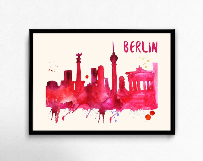 Berlin Skyline Watercolor Poster - Cityscape Painting Artwork - Art Print, Multiple Sizes - 10x8 to 36x24 - Watercolor Painting Style