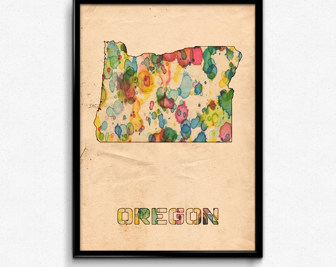 Oregon Map Poster Watercolor Print - Fine Art Digital Painting, Multiple Sizes - 12x18 to 24x36 - Vintage Paper Colors Style
