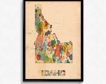 Idaho Map Poster Watercolor Print - Fine Art Digital Painting, Multiple Sizes - 12x18 to 24x36 - Vintage Paper Colors Style