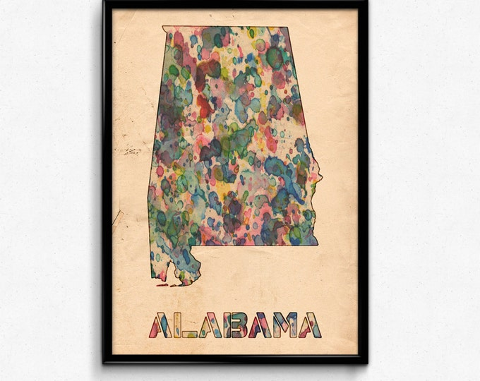 Alabama Map Poster Watercolor Print - Fine Art Digital Painting, Multiple Sizes - 12x18 to 24x36 - Vintage Paper Colors Style