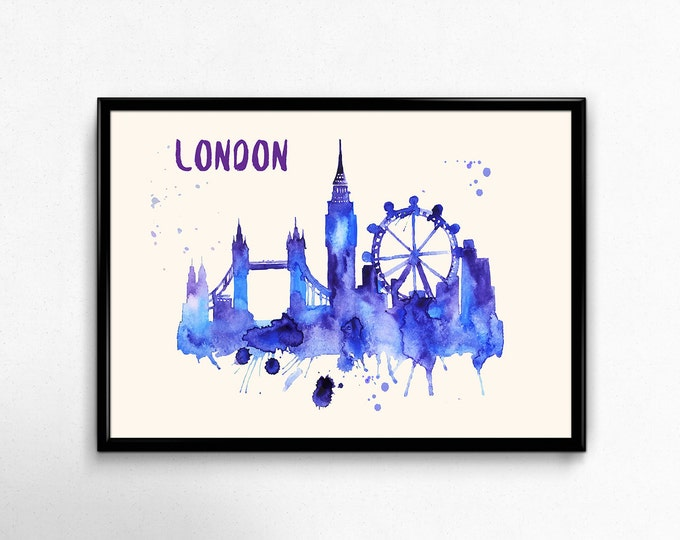 London Skyline Watercolor Poster - Cityscape Painting Artwork - Art Print, Multiple Sizes - 10x8 to 36x24 - Watercolor Painting Style